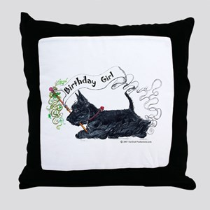 Scottie Girl Birthday Throw Pillow