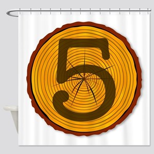 Number Five Log Shower Curtain