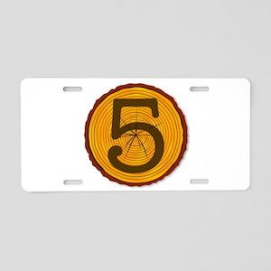 Number Five Log Aluminum License Plate
