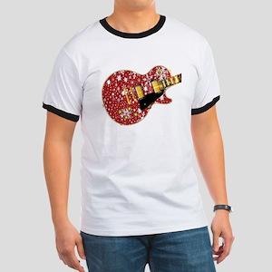 Christmas Snowflake Red Guitar T-Shirt
