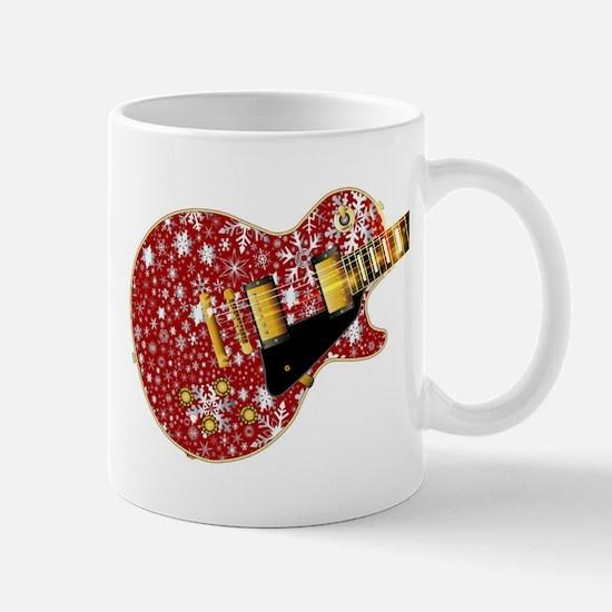 Christmas Snowflake Red Guitar Mugs