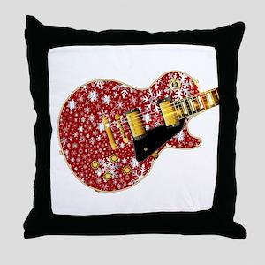 Christmas Snowflake Red Guitar Throw Pillow