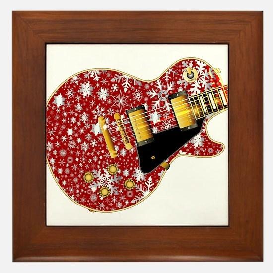Christmas Snowflake Red Guitar Framed Tile