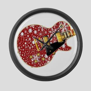 Christmas Snowflake Red Guitar Large Wall Clock