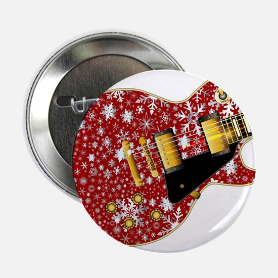 "Christmas Snowflake Red Guitar 2.25"" Button"