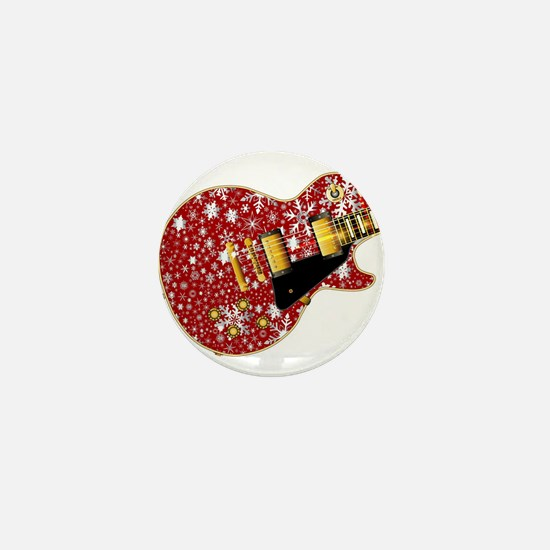 Christmas Snowflake Red Guitar Mini Button