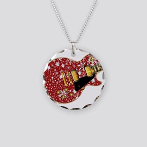 Christmas Snowflake Red Guit Necklace Circle Charm