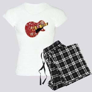 Christmas Snowflake Red Guitar Pajamas