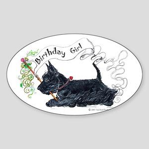 Scottie Girl Birthday Oval Sticker