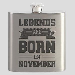 Legends Are Born In November Flask