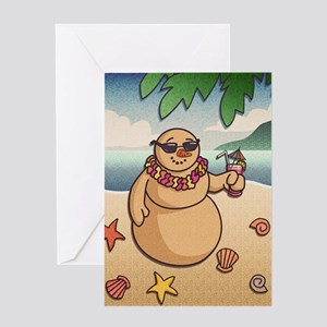 Tropical Snowman Greeting Cards