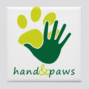hand and paws Tile Coaster