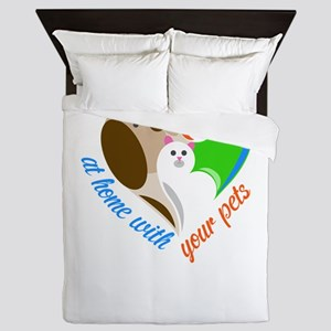 at home with your pets Queen Duvet