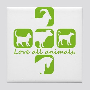 love all animals Tile Coaster