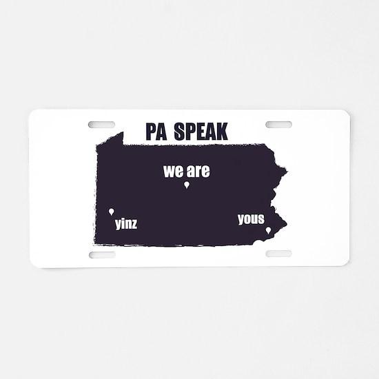 PA Speak Aluminum License Plate