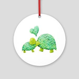 Turtle Hugs Round Ornament