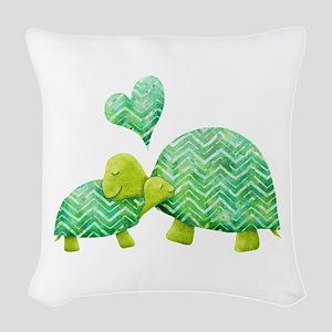Turtle Hugs Woven Throw Pillow