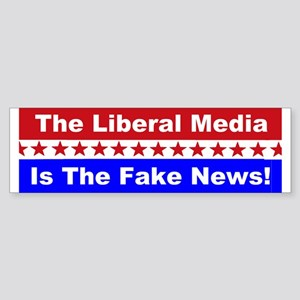 Liberal Media Fake News Sticker (Bumper)