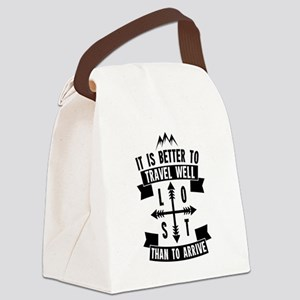 Travel Well Quote Canvas Lunch Bag