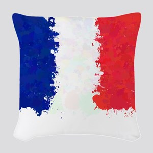 Flag of France (Ink Spots) Woven Throw Pillow