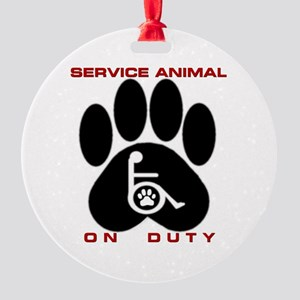 Service Animal On Duty Round Ornament