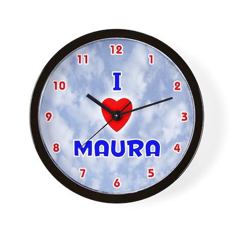 I Love Maura (Red/Bl) Valentine Wall Clock