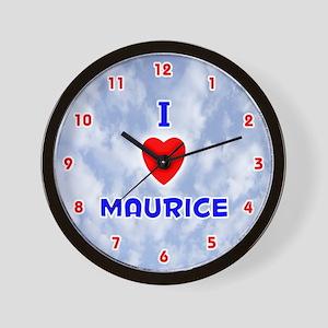 I Love Maurice (Red/Bl) Valentine Wall Clock