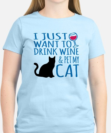Drink Wine and Pet My Cat T-Shirt