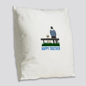 happy together Burlap Throw Pillow