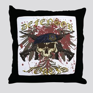 Security Forces Skull Rifles Throw Pillow