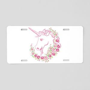 Unicorn and Roses Aluminum License Plate