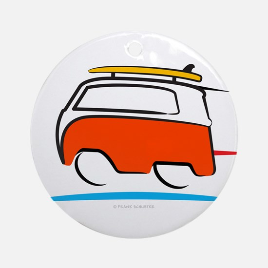 Red Shoerty Van Gone Surfing Round Ornament