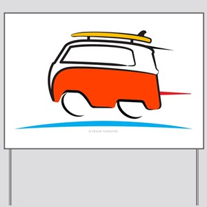 Red Shoerty Van Gone Surfing Yard Sign