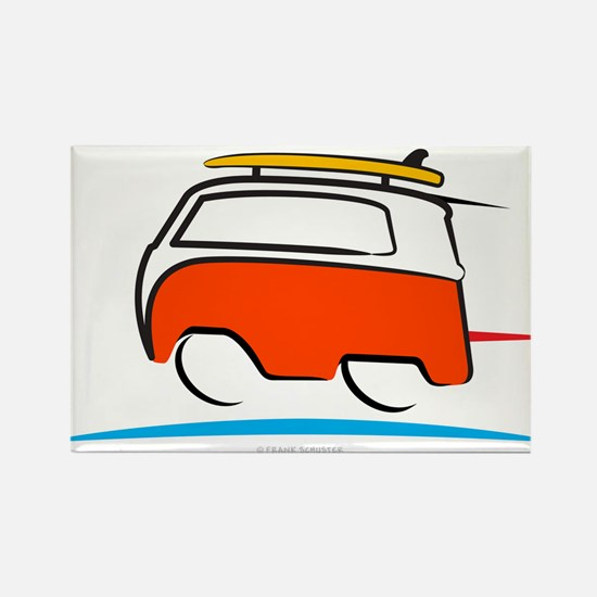 Red Shoerty Van Gone Surfing Rectangle Magnet
