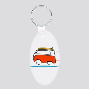 Red Shoerty Van Gone Surfin Aluminum Oval Keychain