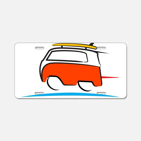 Red Shoerty Van Gone Surfin Aluminum License Plate