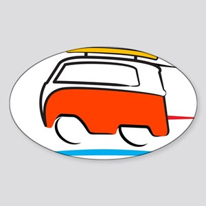Red Shoerty Van Gone Surfing Sticker (Oval)