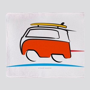 Red Shoerty Van Gone Surfing Throw Blanket