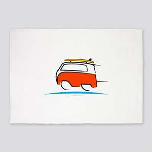 Red Shoerty Van Gone Surfing 5'x7'Area Rug