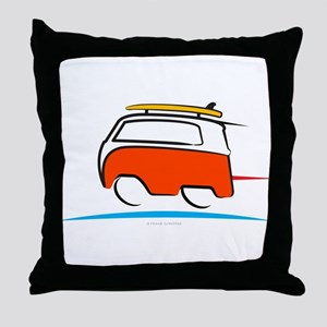 Red Shoerty Van Gone Surfing Throw Pillow