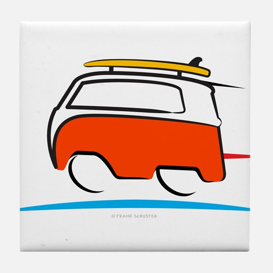 Red Shoerty Van Gone Surfing Tile Coaster