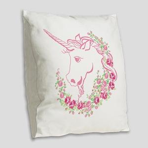 Unicorn and Roses Burlap Throw Pillow