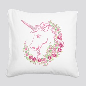 Unicorn and Roses Square Canvas Pillow