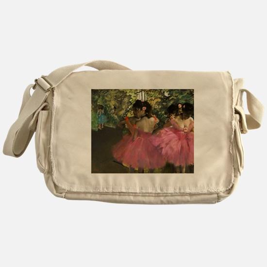 Ballerinas in Pink by Edgar Degas Messenger Bag