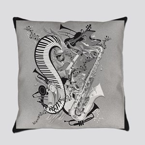 Jazz Piano Saxophone Guitar Music Everyday Pillow