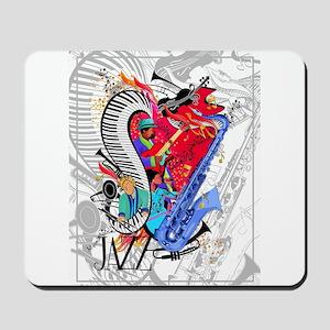 Smooth Jazz Piano Saxophone Guitar Art P Mousepad