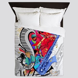 Smooth Jazz Piano Saxophone Guitar Art Queen Duvet