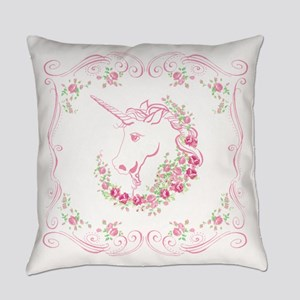 Unicorn and Roses Everyday Pillow