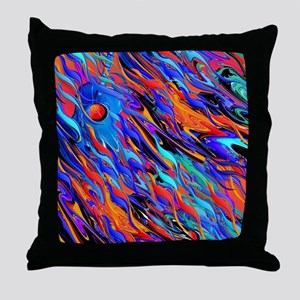 Melting Guitar Colorful Waves Throw Pillow