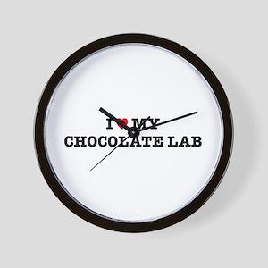 I Heart My Chocolate Lab Wall Clock